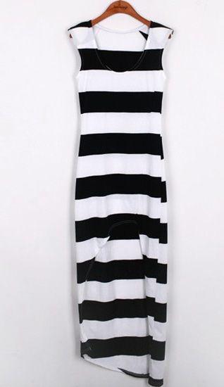 Black And White Hi Low Long Striped Dress