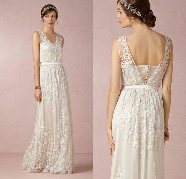 3D Floral Appliques Lace Bohemian Wedding Dresses V Neck A Line Sexy Back BHLDN 2016 White Beach Bridal Gowns Floor Length Cheap