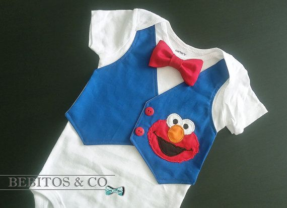 fa73bac28286 Elmo Boy Bodysuit Elmo Vest Bodysuit Elmo First by BebitosCo