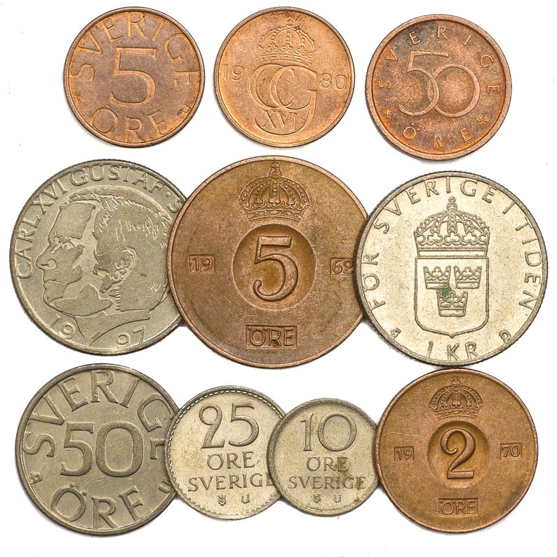 LOT OF 10 MIXED SWEDEN COINS SWEDISH ORE KRONA SVERIGE CIRCULATED 1950-PRESENT