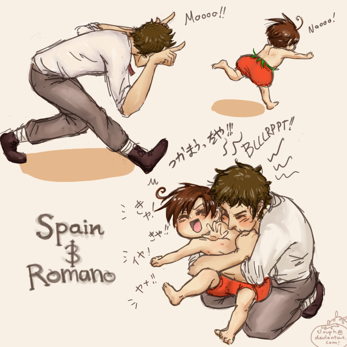 Hetalia: Running of the Bulls by slouph.deviantart.com on @deviantART - OMG, this is so cute! It's Antonio chasing little Lovino around and then smothering him with raspberries.