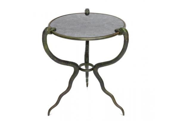 Cox London - Serpent Table. Side table in sculpted cast iron with Guinea Fowl glass top.