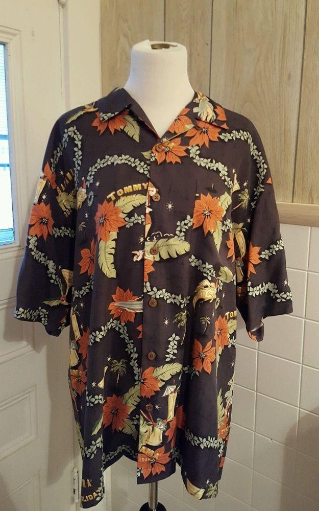 Tommy Bahama Holiday 2002 Hawaiian Camp Silk Shirt Men's Large Hula Girl Santa #TommyBahama #Hawaiian
