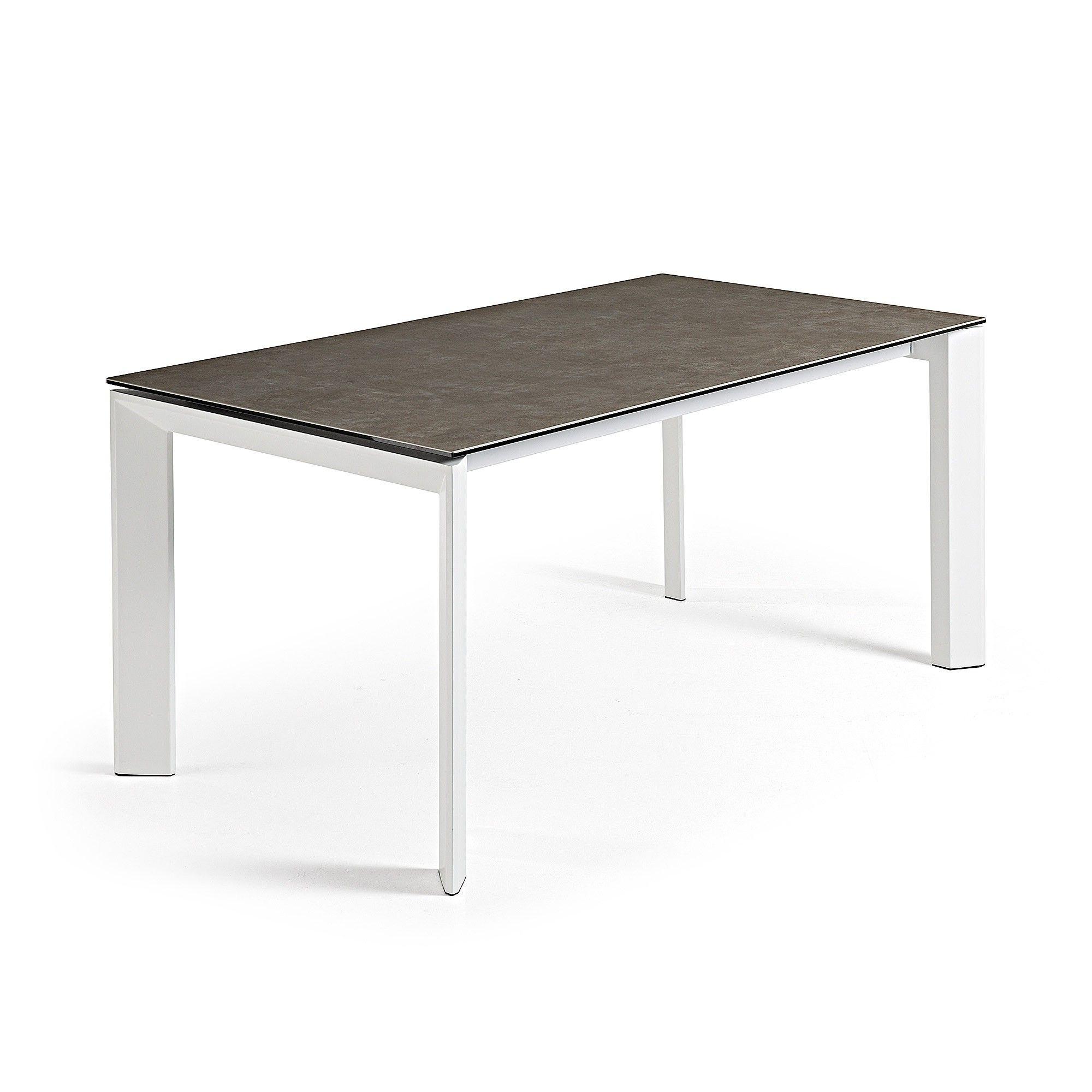 Mesa Extensible Axis Vulcano Ceniza Y Blanco 160 220 X90  # Muebles Vulcano
