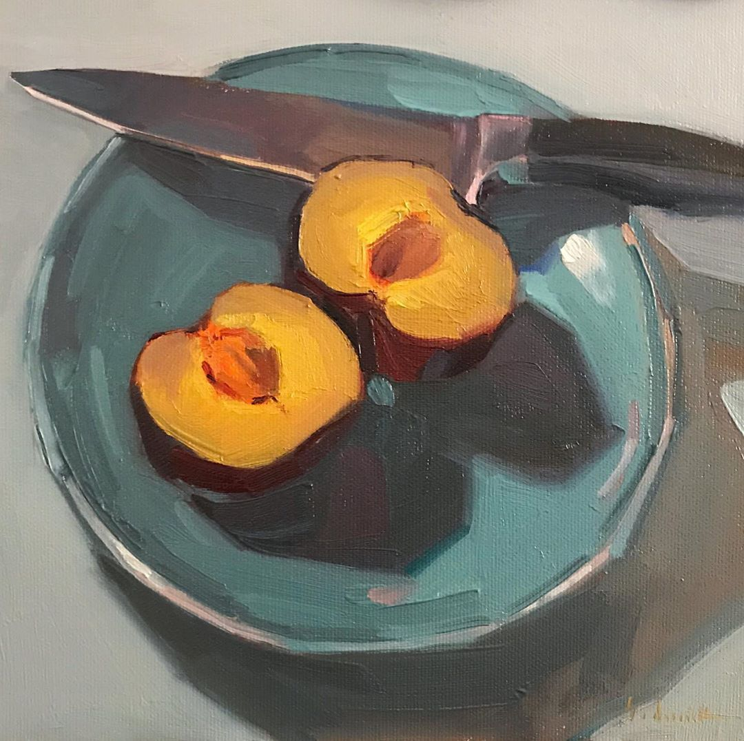 foodie fruit oil painting food still life 8x8 PRINT Bowl of Clementines