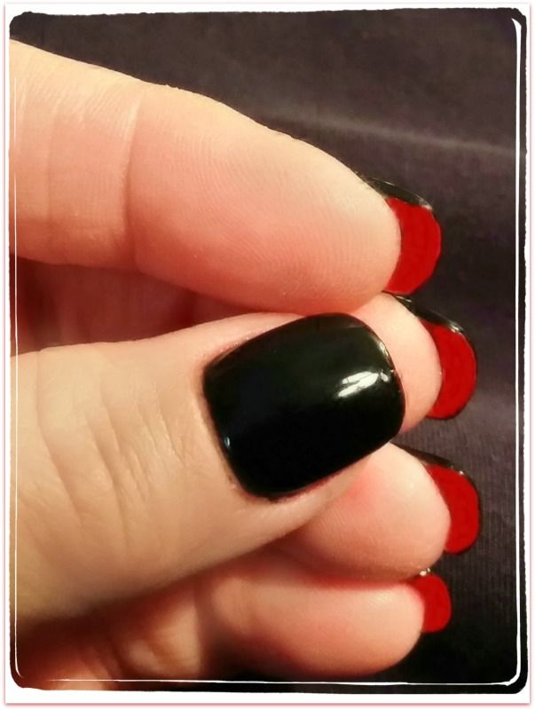 Louboutin Inspired Red Bottom Nails I Used Opi Gel Nail Color Onyx For And Le Under Free Edge