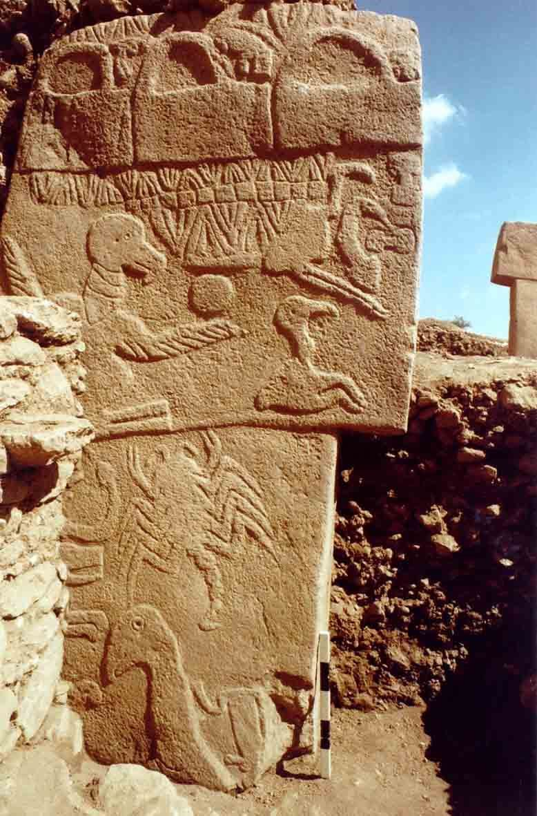 "Gobekli Tepe Vulture Stone (the orb on the wing is the sun)- In 10,000 BC the summer solstice would have been in scorpio. So the ""written"" zodiac is at least 12,000 years old and it's probably much older."