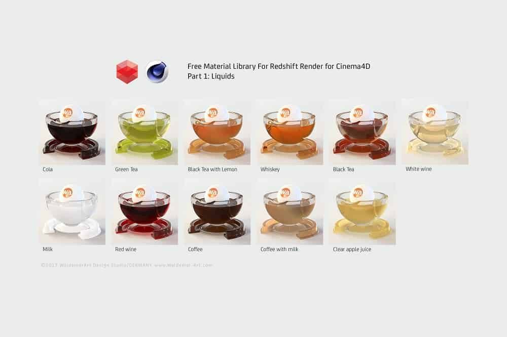 Free Material Library for Redshift Render for Cinema4D | Waldemar