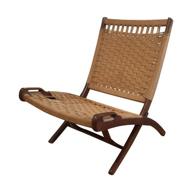 Vintage Hans Wegner Style Folding Rope Chair
