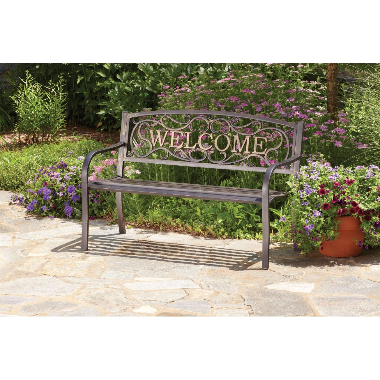 Living accents welcome park bench park benches ace for Living accents patio furniture