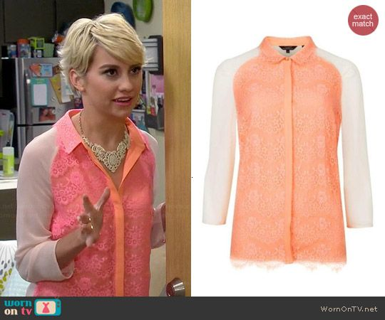 20de96b59654 Riley s coral lace front collared shirt on Baby Daddy in 2019