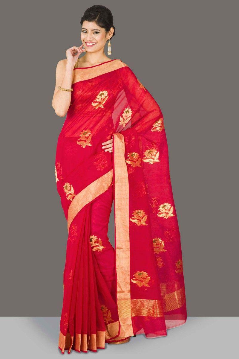 Maroon silk saree gorgeous red chanderi saree with gold zari floral motifs u border