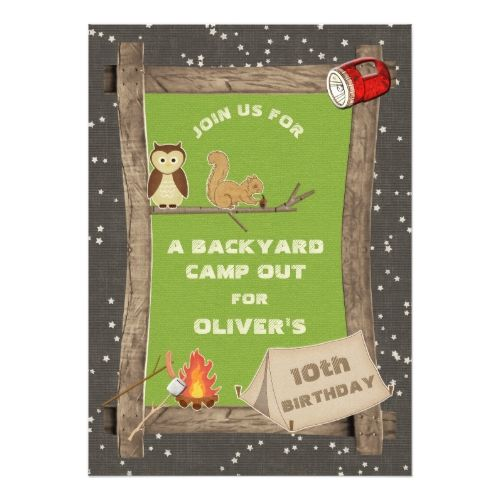 Camping Birthday Party Invitations Backyard Camp Out Card