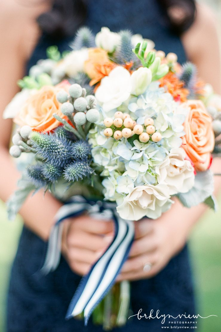 Navy and White Striped Grosgrain Ribbon Bouquet. Photography by Brklyn View Photography