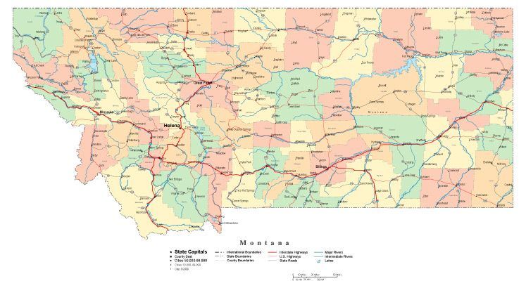 Montana State Map With Counties.Montana Map Cut Out Style With Counties Cities County Seats