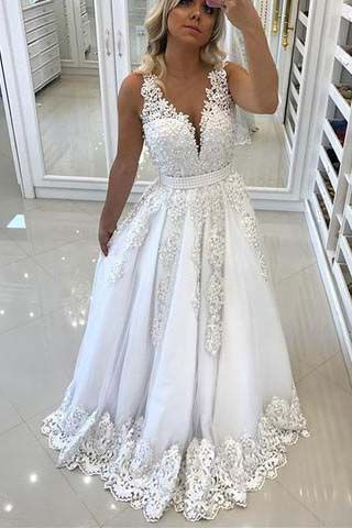 White Lace Prom Dresses 2018, Prom Dress, Sweet | Prom dresses ...