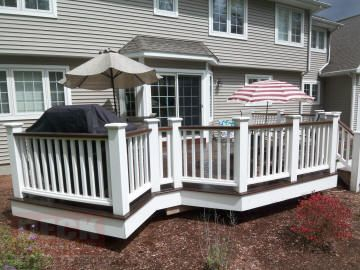 White Brown Contrast On Composite Deck Backyard