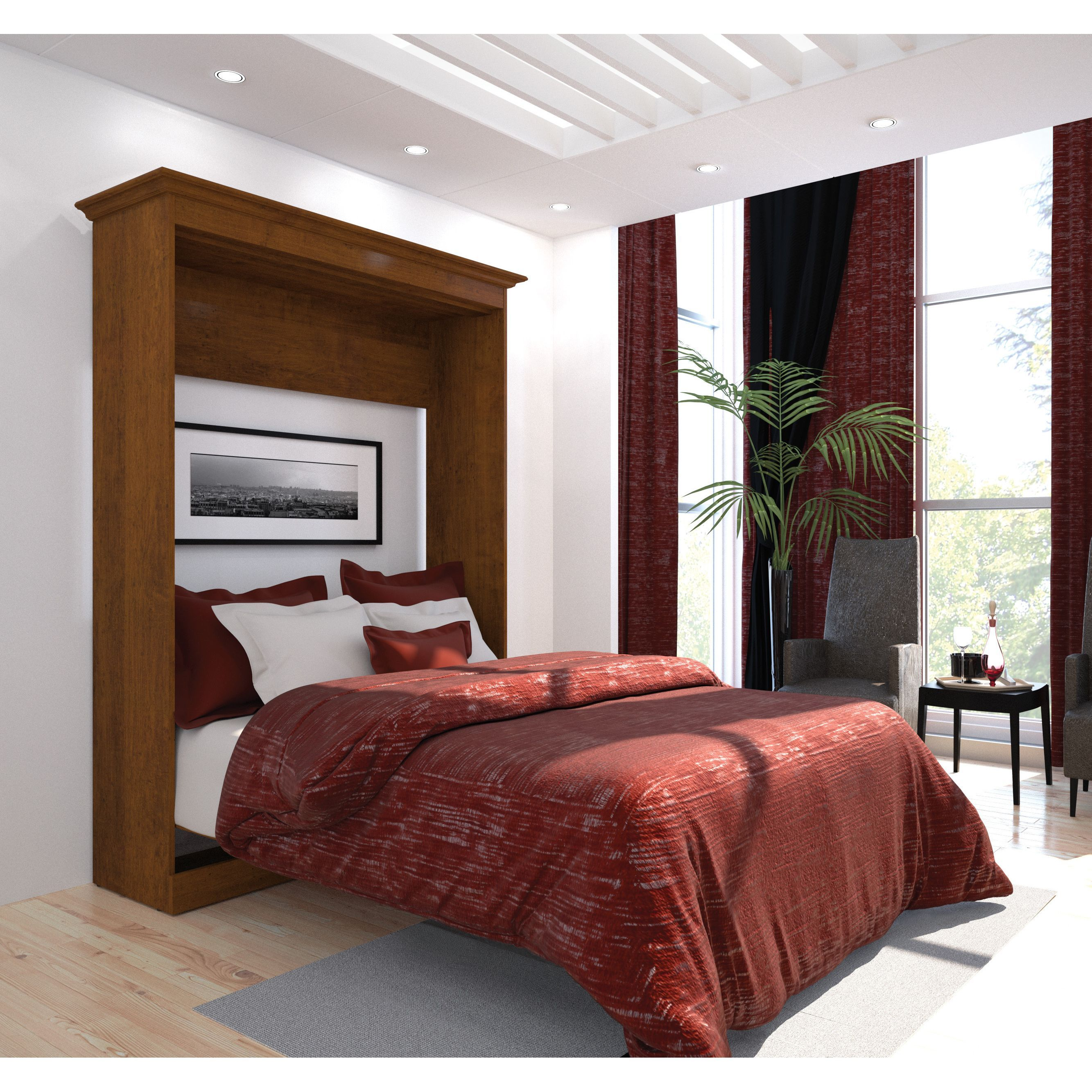 versatile by bestar full size wall bed tuscany brown on wall beds id=59354