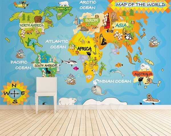 Wallpaper Sticker CUTE MAP By Sticky WALLPAPER Pinterest - Cute world map wallpaper