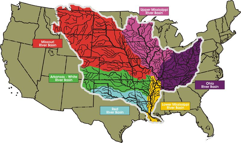 The Mississippi is the drainage of the USA. 41% runoff of ...