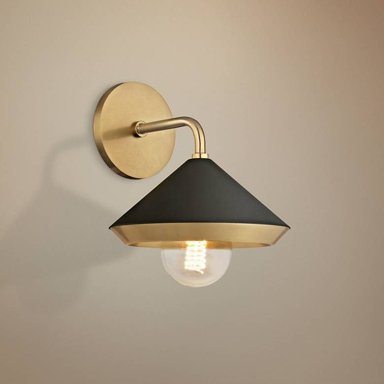 Mitzi Marnie 10 High Aged Brass And Black Wall Sconce 46e37 Lamps Plus With Images Black Wall Sconce Sconces Contemporary Wall Sconces