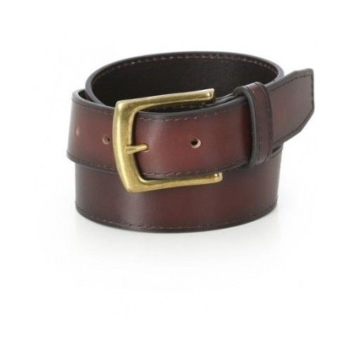 Mens Genuine Leather Dress Belt With Antique Brass Buckle