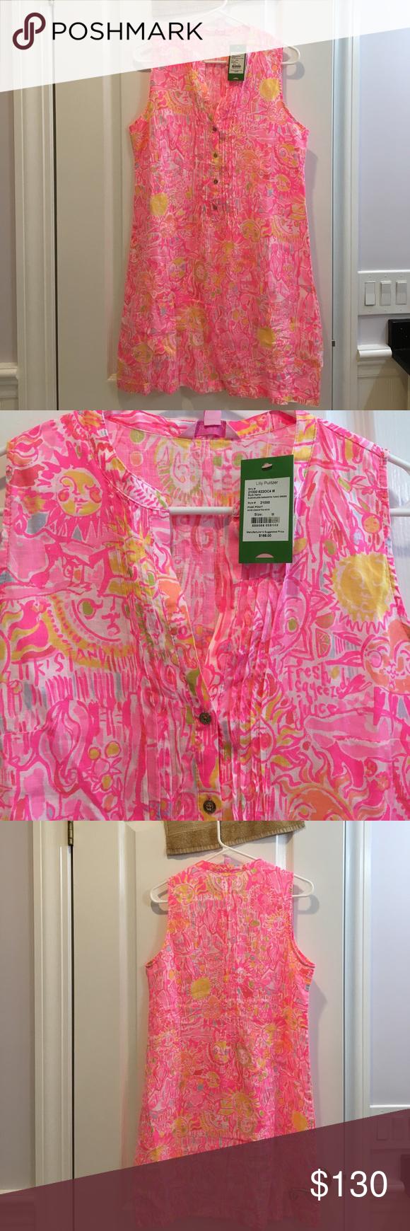 NWT Lilly Pulitzer Dress. Sleeveless Sarasota Tunic dress in pink ...