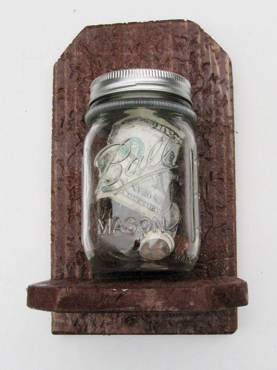 WOOD BALL JAR Vase/ Bank Wall Decor Country by OneOfAKindByKat, $18.00