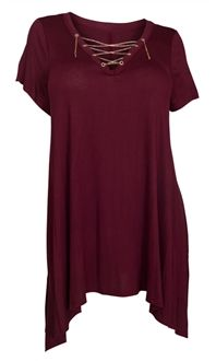 Plus Size Lace Up Tunic Top Burgundy Marketplace Tops Tunic