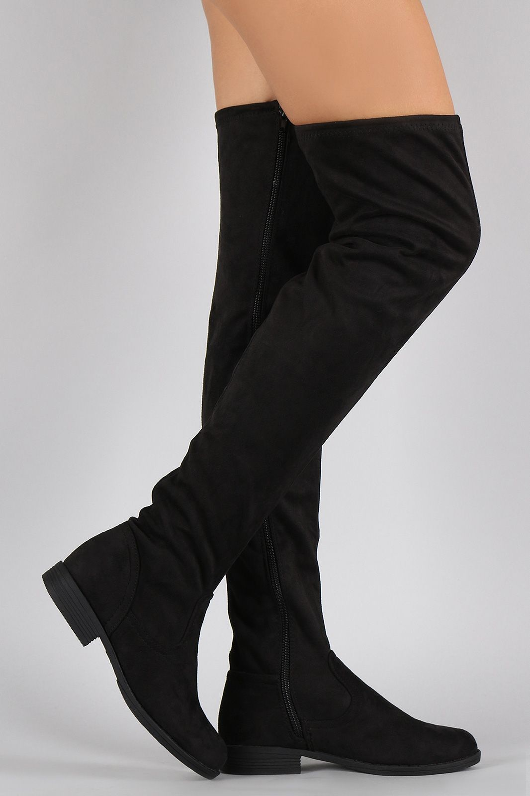 3db0a54bf2a Shop Flat Thigh High Boots. These flat boots are knee high to thigh high  length, depending on personal height. Designed to be fit hugging.