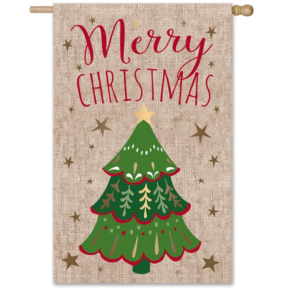 9a83f3b575a1 Merry Christmas Stars Burlap Double Sided House Flag