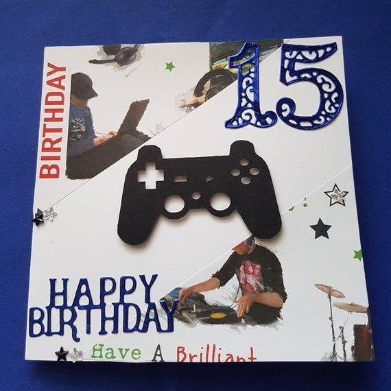 Boys Happy Birthday Card Age 15 Headphones Controller
