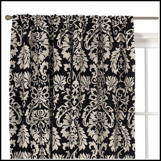 2 Window Panels Across 3 Windows Target Waverly Damask Curtains In Black  And White