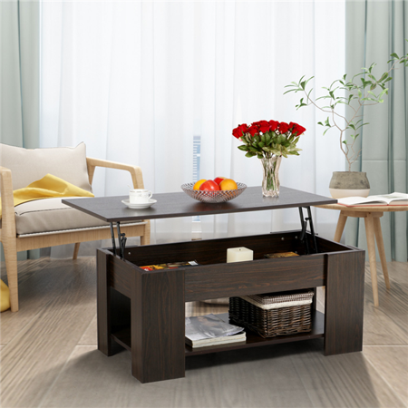 Modern Lift Up Top Tea Coffee Table W Hidden Storage Compartment