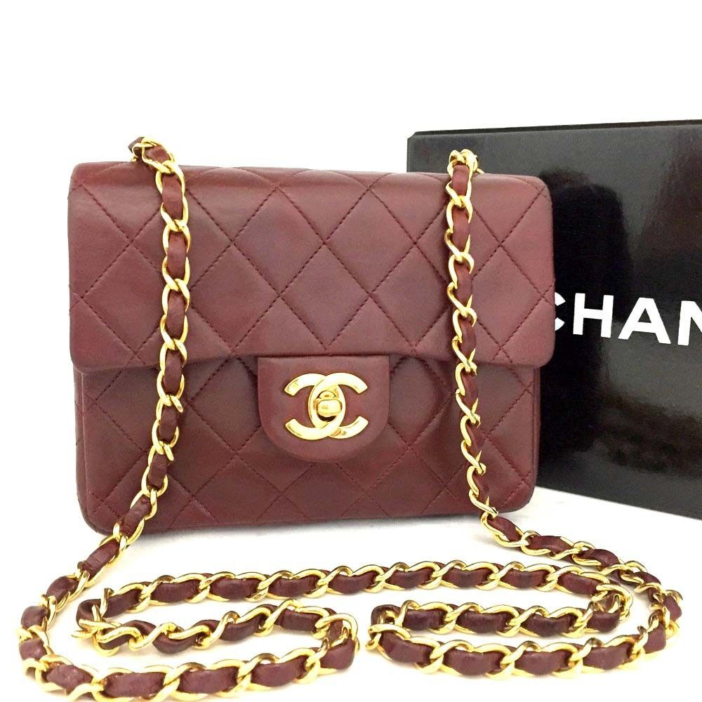 6816de099e4 CHANEL Quilted 17 Single Flap CC Turn Lock Lambskin Chain Mini Shoulder Bag HB  x