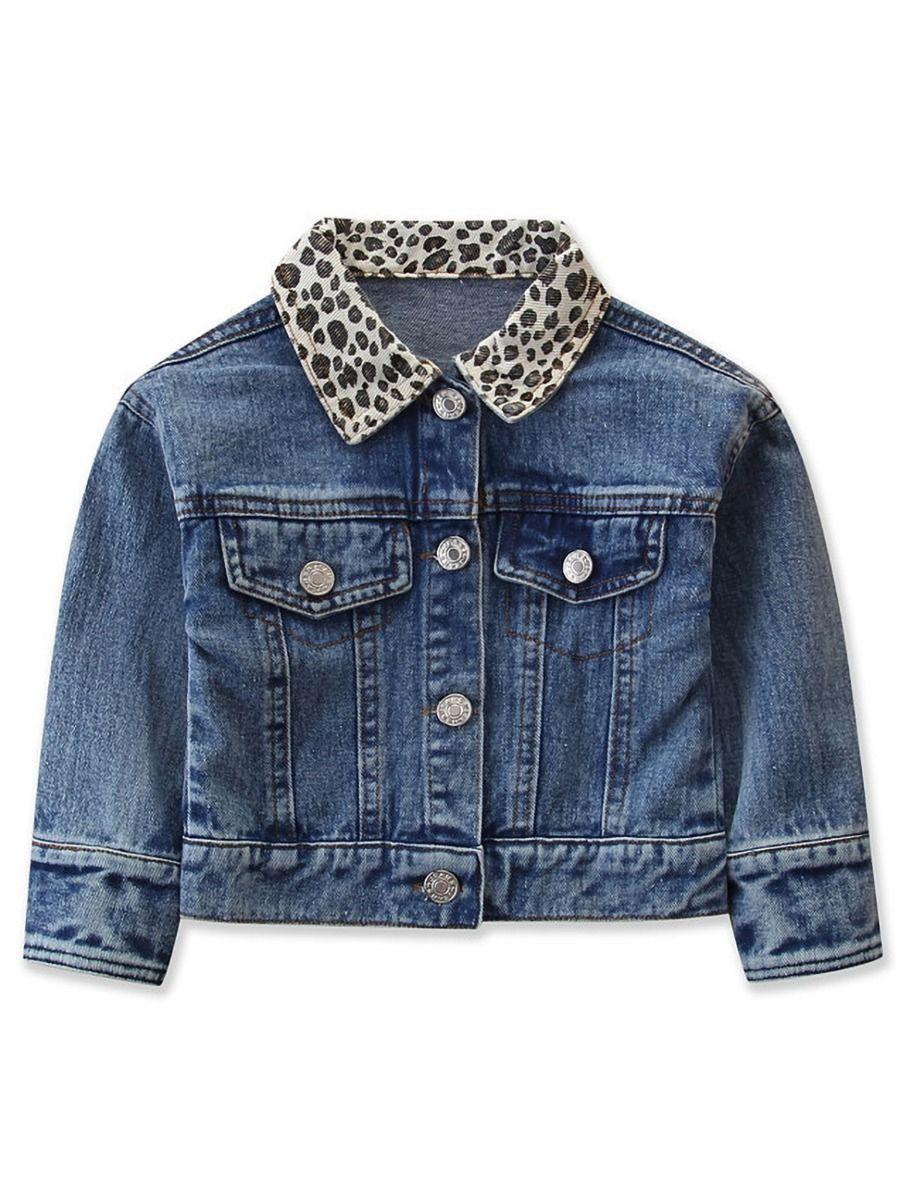 Autumn Toddler Girl Leopard Print Lapel Denim Jacket Kids Outerwear Toddler Girl Jackets Girls Windbreaker [ 1200 x 900 Pixel ]