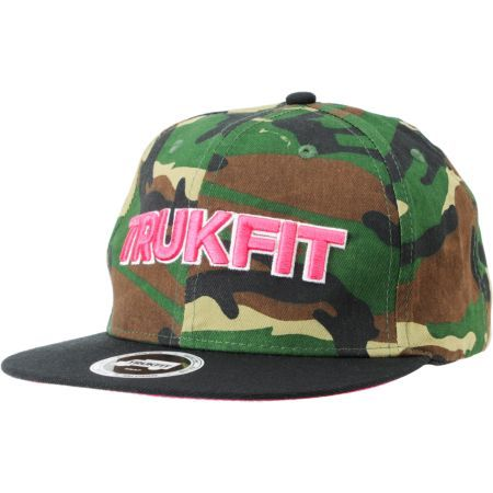 1468f0daea5 The Trukfit Culture woodland camo snapback is a great camo hat with some  pink highlights to stand out from the ferns. Featuring a pink Trukfit  script ...