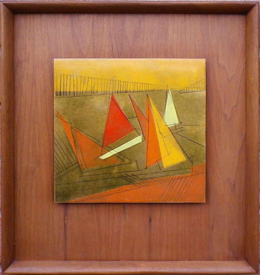 Mid Century MODERN Copper Enamel Modernist Painting Vintage 60s 70 ...