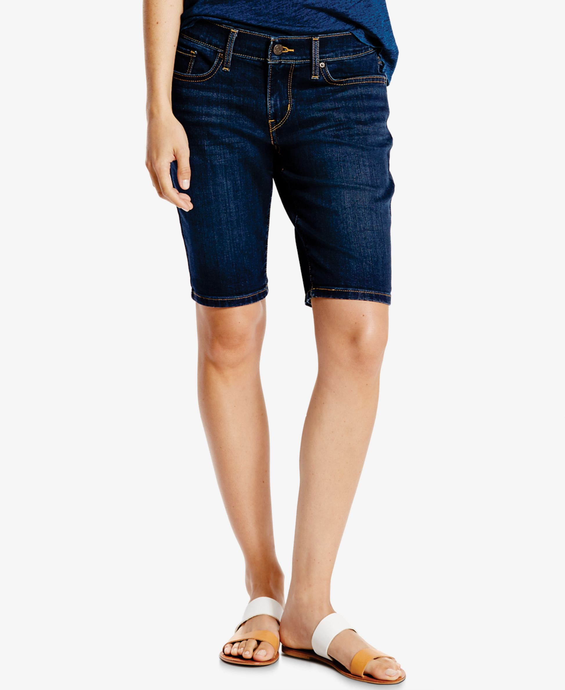 Take on fashion's latest trend with these denim bermuda shorts ...