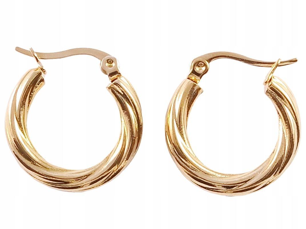 A131 Kolczyki Zlote Kola Stal Grube 24k Lekkie 2cm 7799287213 Allegro Pl Gold Bracelet Jewelry Gold