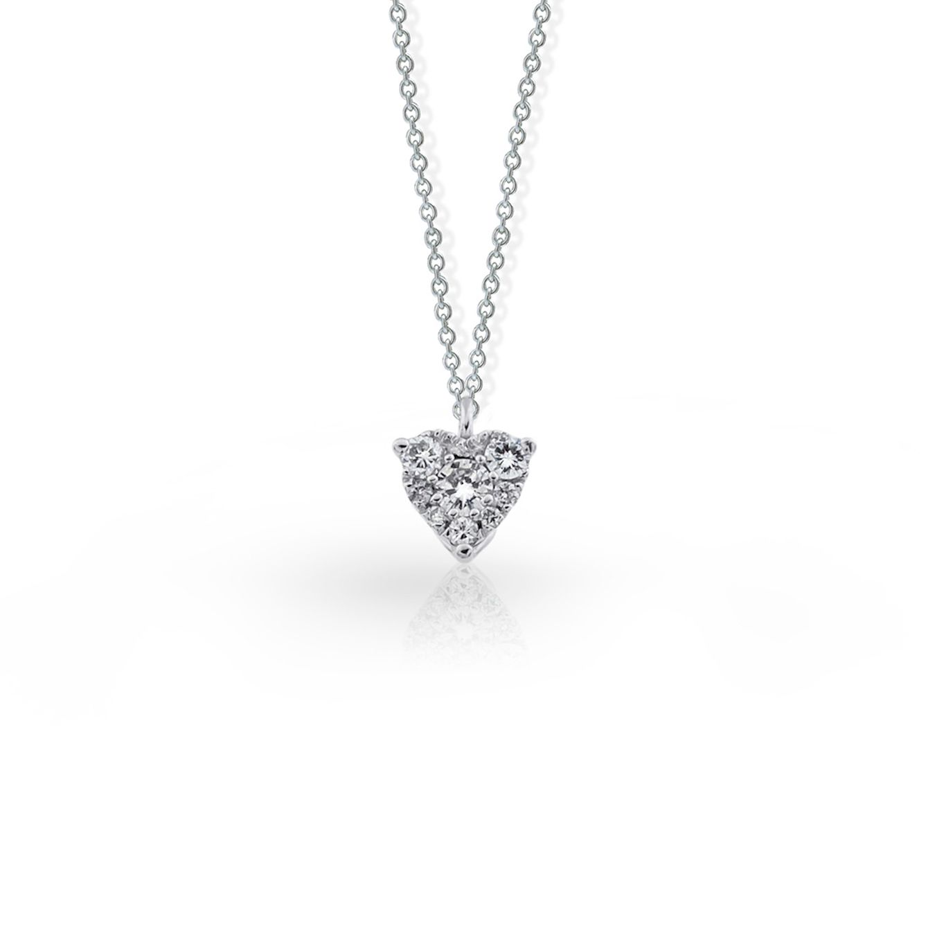 Small heart shaped diamond necklace in white gold diamond small heart shaped diamond necklace in white gold diamond diamonds jewelry fiorly mozeypictures Images