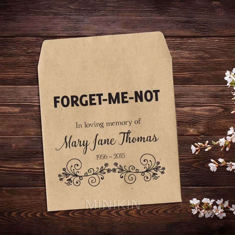 10 Forget Me Not Seed Packet Favours By Wedding In A: Memorial Seed Packets, 25 Seed Packet Favor, Funeral Seed