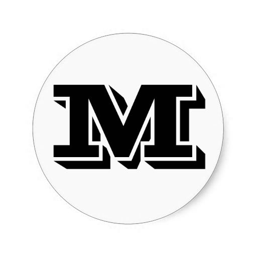 Capital letter m small round stickers by janz