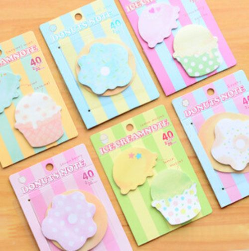 1Pcs Sweet Colorful Flowers & Ice Cream Memo Pad N Times Sticky Notes Memo Notepad H0073