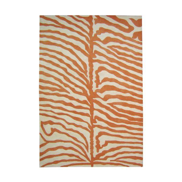 Alliyah Handmade Orange New Zealand Blend Wool Rug 9 X 12 Zebra Area Rug Area Rugs Wool Area Rugs
