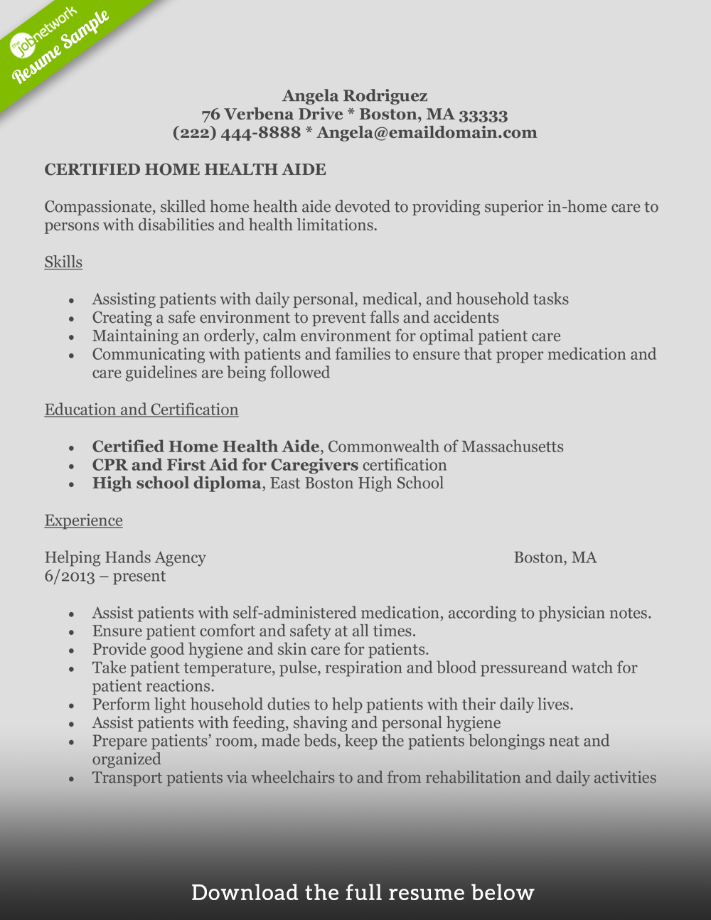 Home Health Aide Boston Health Pinterest Resume Examples