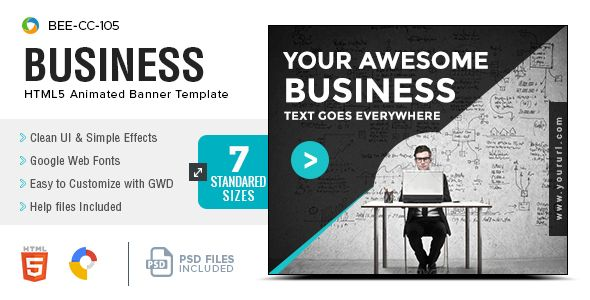 Business HTML5 Banners - GWD - 7 Sizes . BEE-CC-105-Business