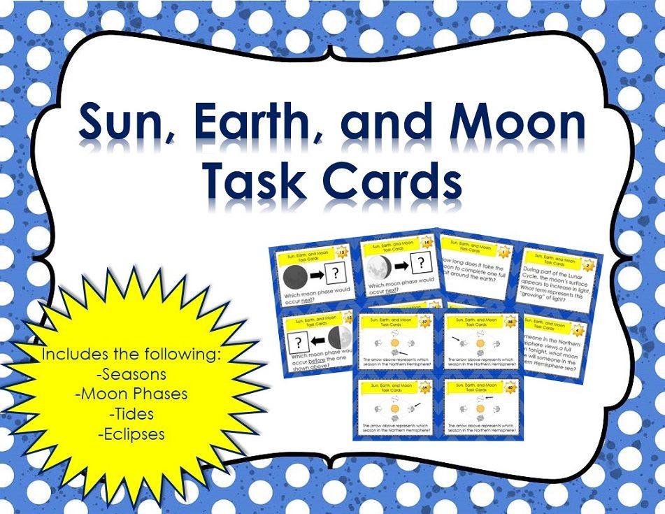 Earth Task Cards Seasons Moon Phases Tides And Eclipses Earth