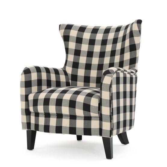 Best Adair Black And White Plaid Fabric Club Chair Club 400 x 300
