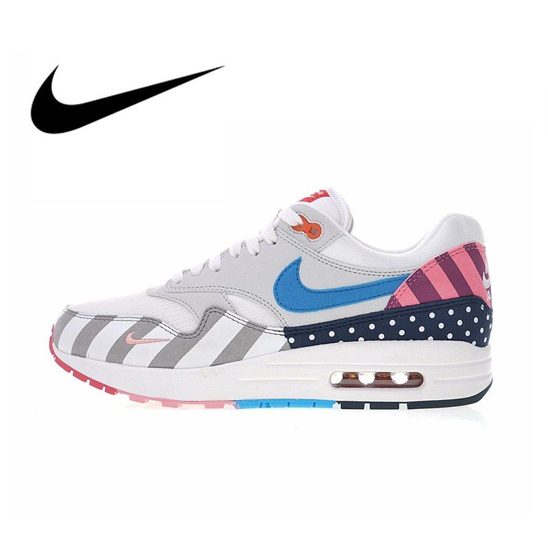 watch b481f bdc62 Original Authentic Nike Air Max 1 Parra White Multi Men s Running Shoes  Sneakers Top Quality Athletic Designer Footwear 2018 New